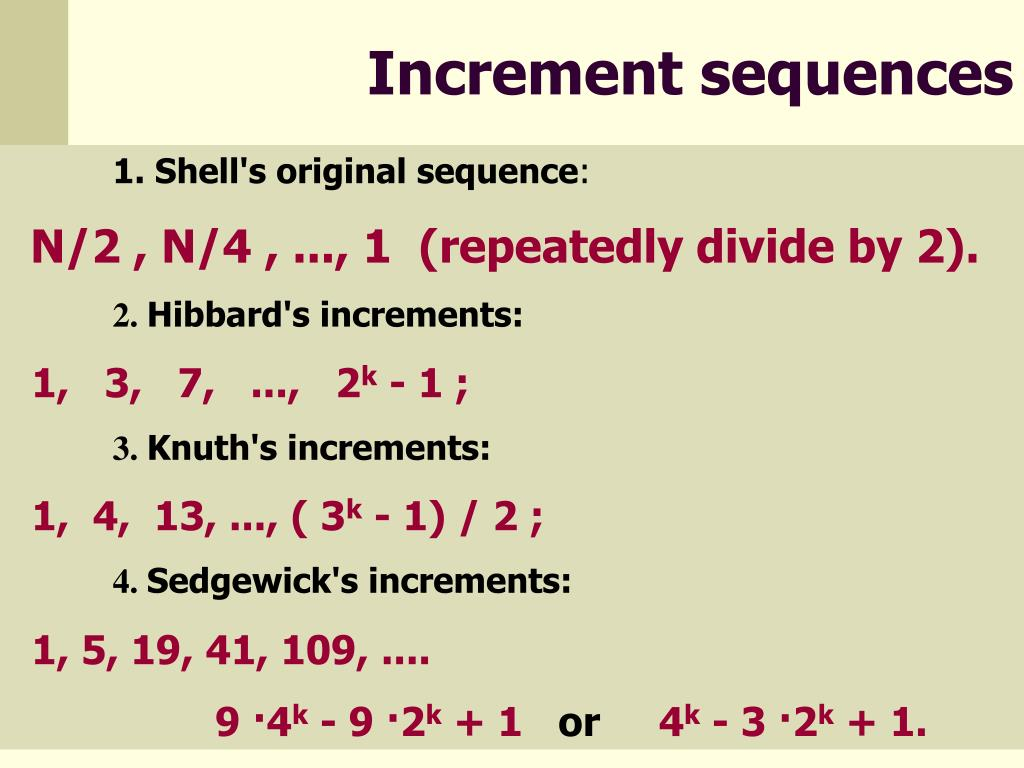 Increment sequences