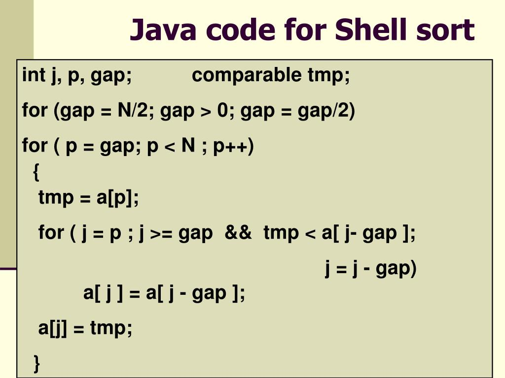 Java code for Shell sort