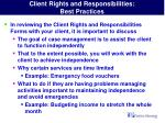client rights and responsibilities best practices