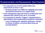 re determination and reassessment best practices