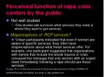 perceived function of rape crisis centers by the public
