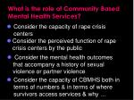 what is the role of community based mental health services