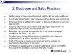 2 disclosure and sales practices