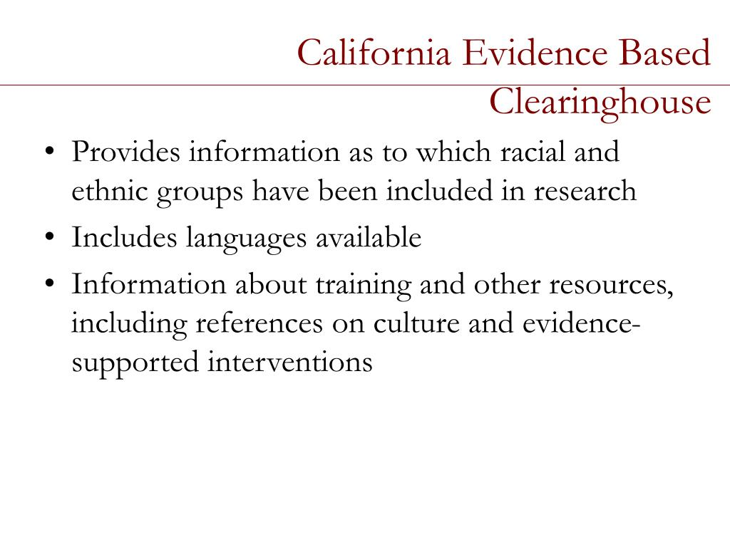 California Evidence Based Clearinghouse