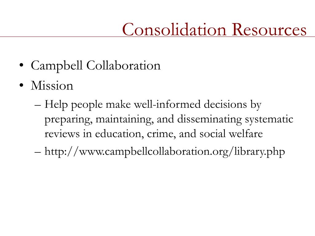 Consolidation Resources