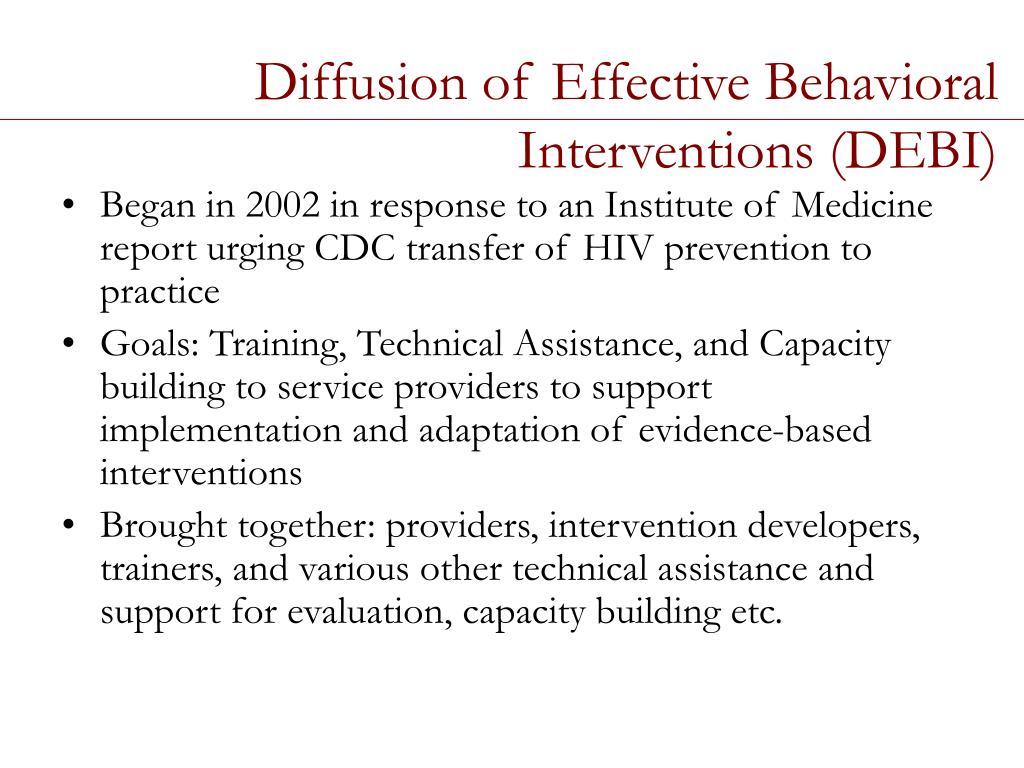 Diffusion of Effective Behavioral Interventions (DEBI)