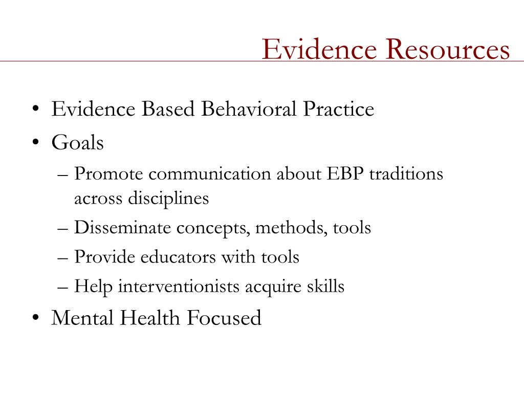 Evidence Resources