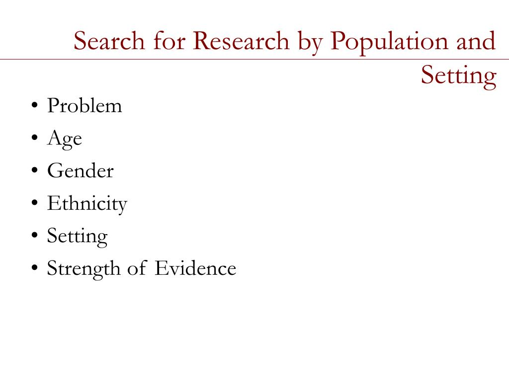 Search for Research by Population and Setting