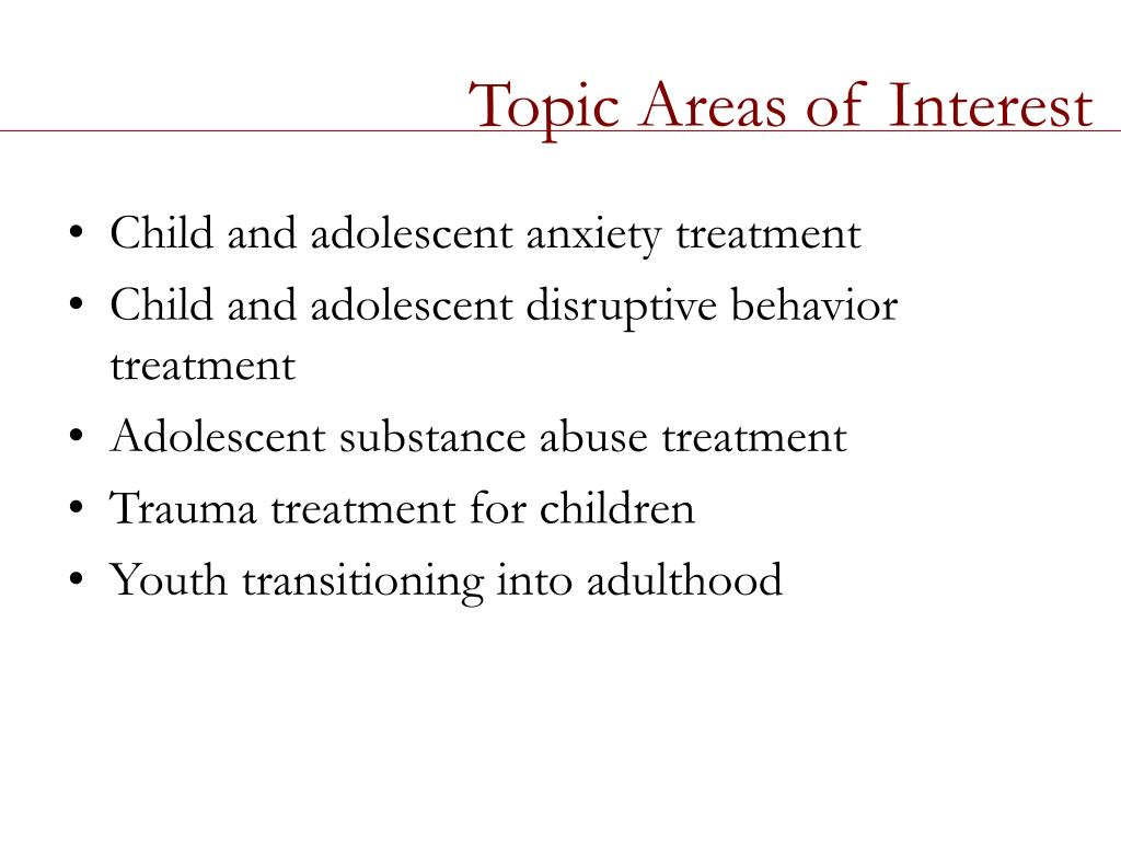 Topic Areas of Interest