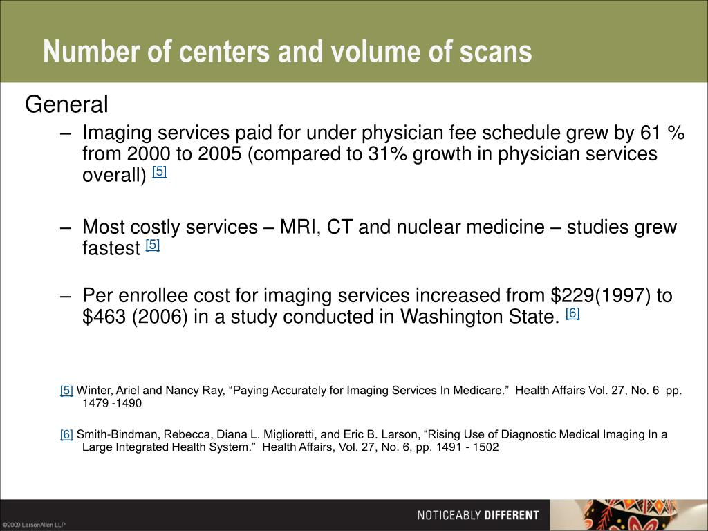 Number of centers and volume of scans