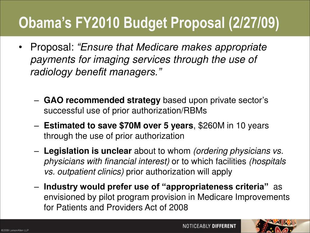 Obama's FY2010 Budget Proposal (2/27/09)