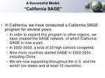 a successful model california sage