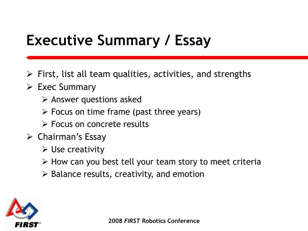 Executive Summary / Essay