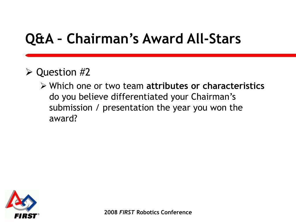 Q&A – Chairman's Award All-Stars