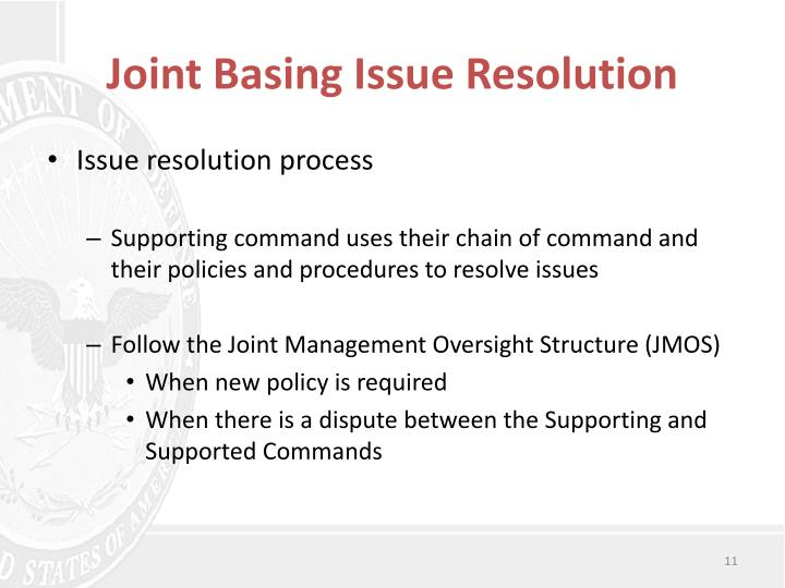 Joint Basing Issue Resolution