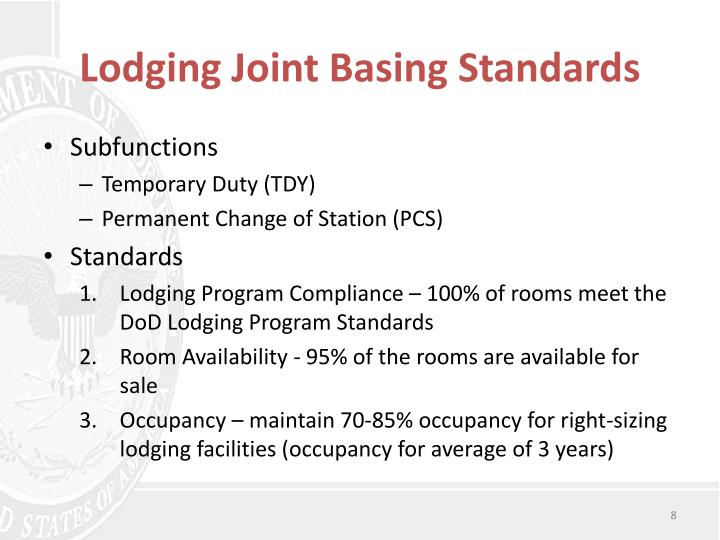 Lodging Joint Basing Standards