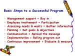 basic steps to a successful program