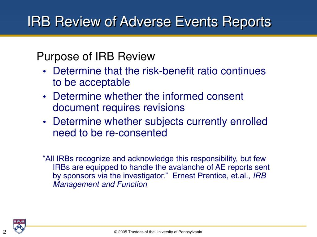 IRB Review of Adverse Events Reports