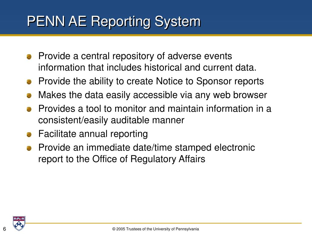 PENN AE Reporting System