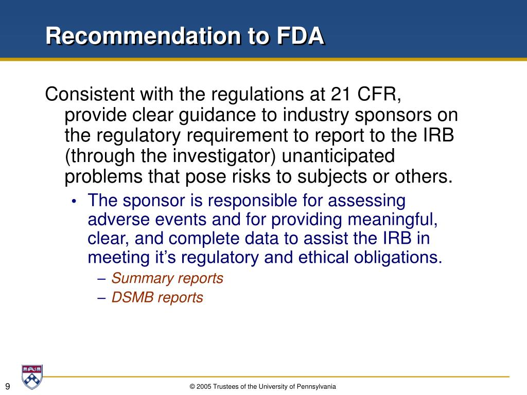 Recommendation to FDA
