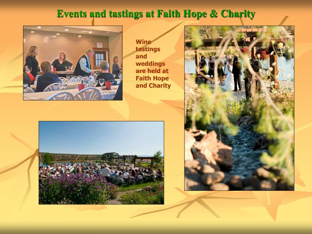 Events and tastings at Faith Hope & Charity
