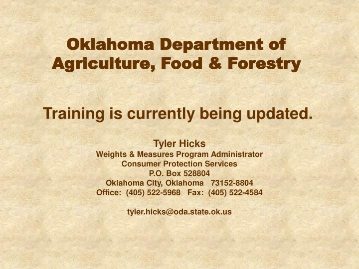 oklahoma department of agriculture food forestry n.