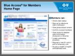 blue access for members home page