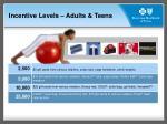 incentive levels adults teens