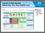 log on to get started select any for your health icon