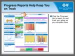 progress reports help keep you on track