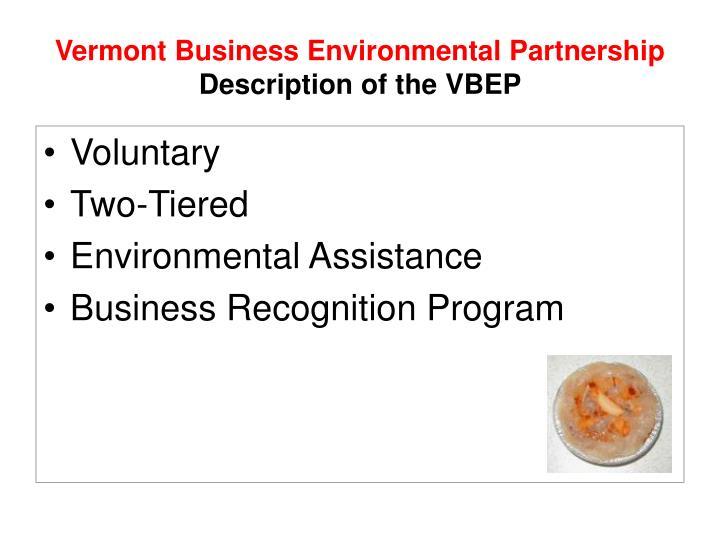 Vermont business environmental partnership description of the vbep