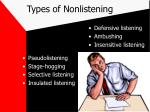 types of nonlistening