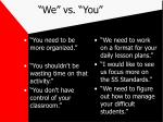 we vs you