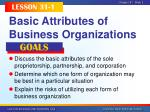 basic attributes of business organizations