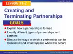 creating and terminating partnerships