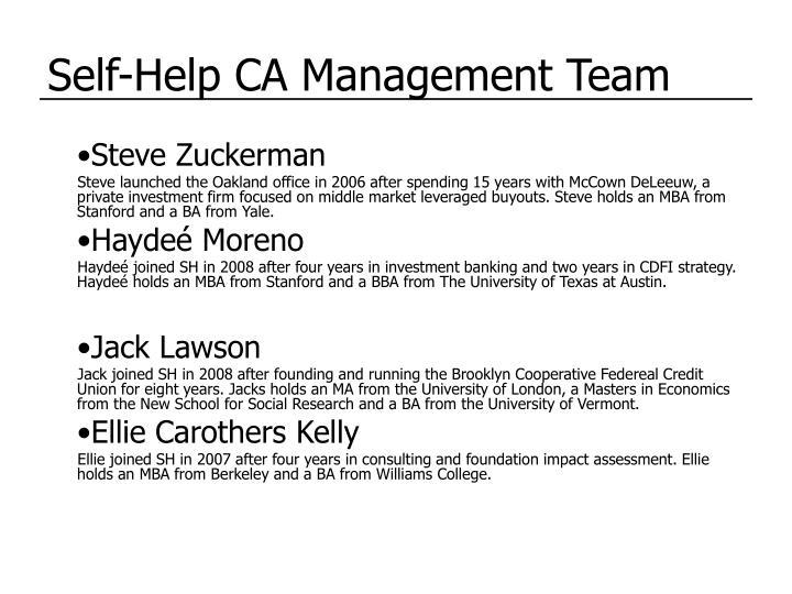 Self-Help CA Management Team