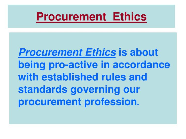 Procurement ethics