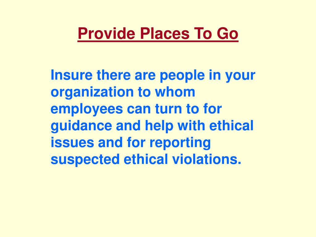Provide Places To Go