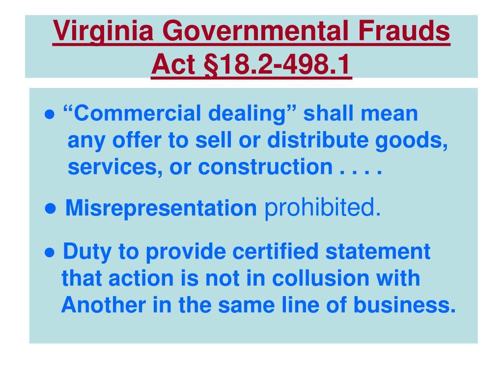 Virginia Governmental Frauds Act