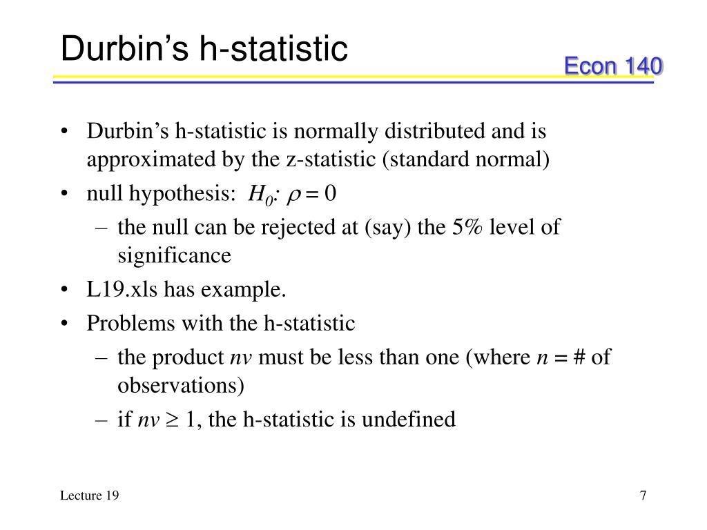 Durbin's h-statistic