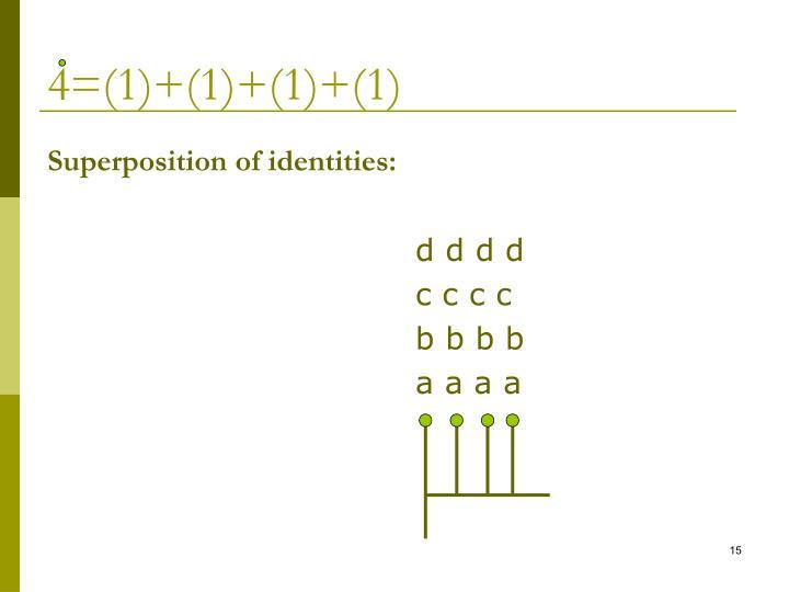 4=(1)+(1)+(1)+(1)