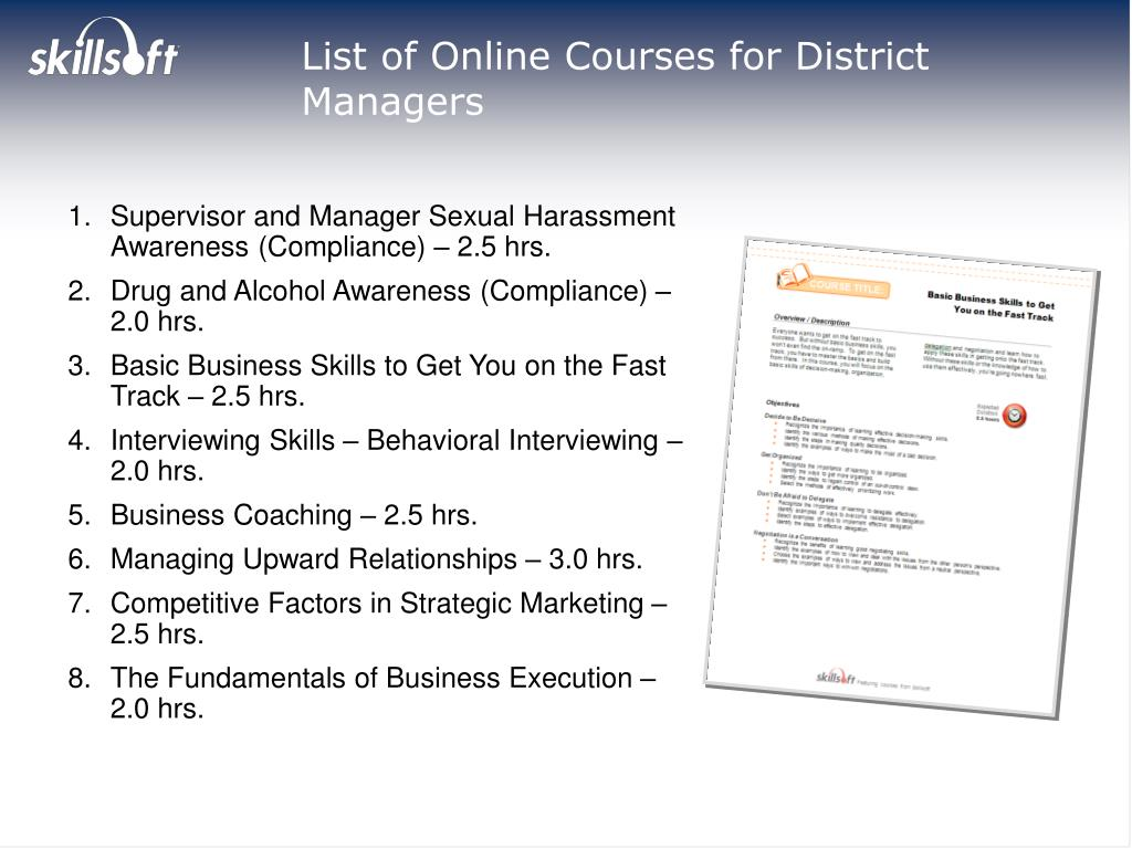 List of Online Courses for District Managers