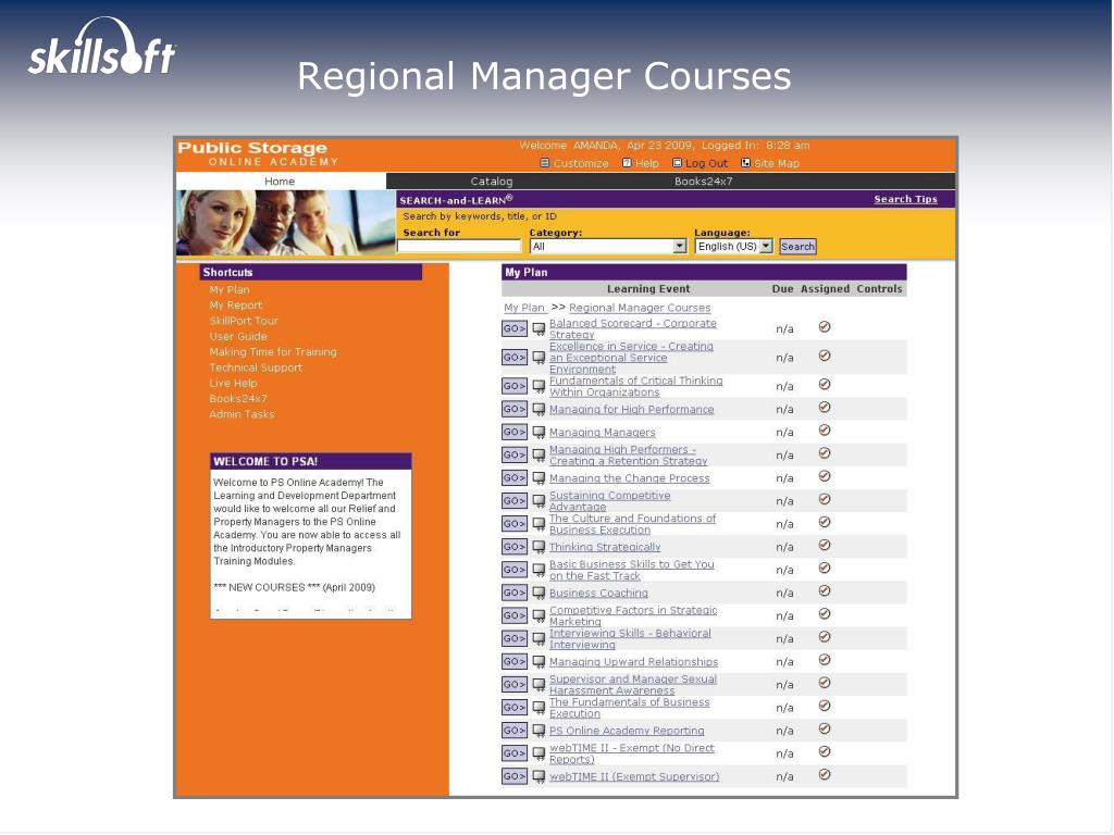 Regional Manager Courses