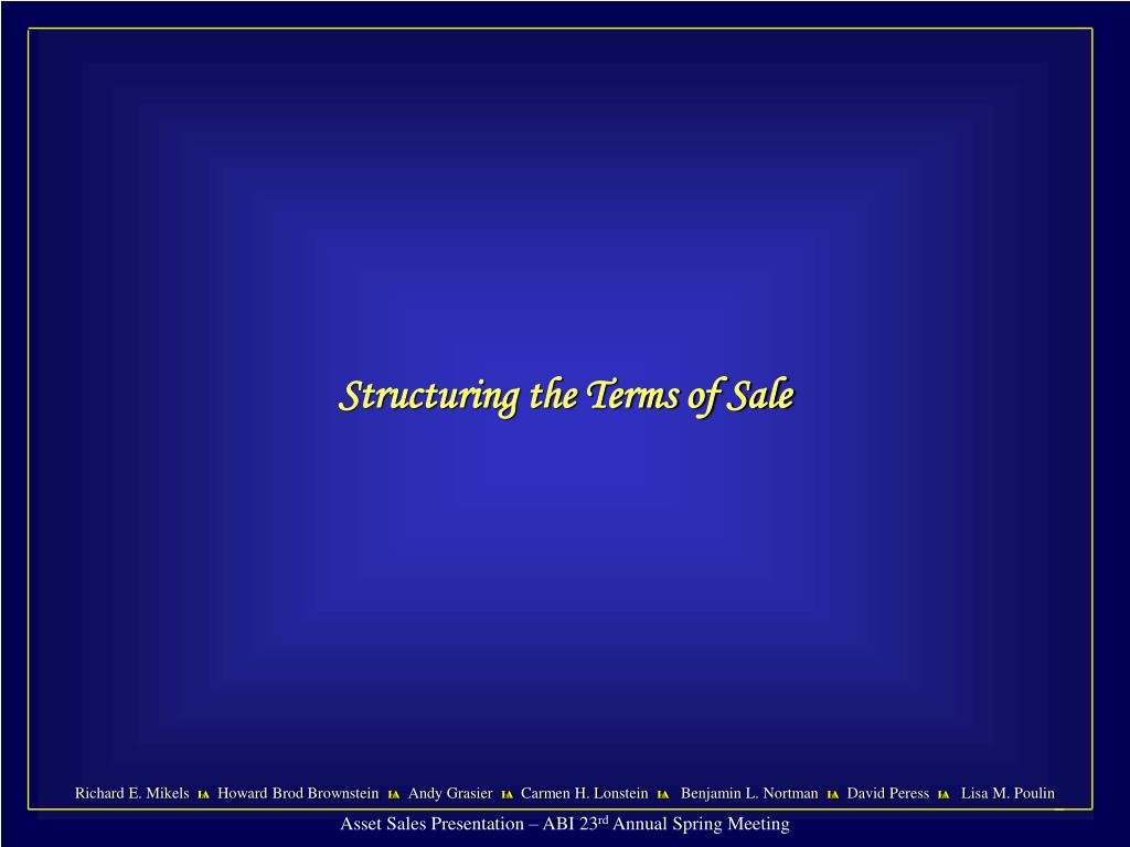 Structuring the Terms of Sale