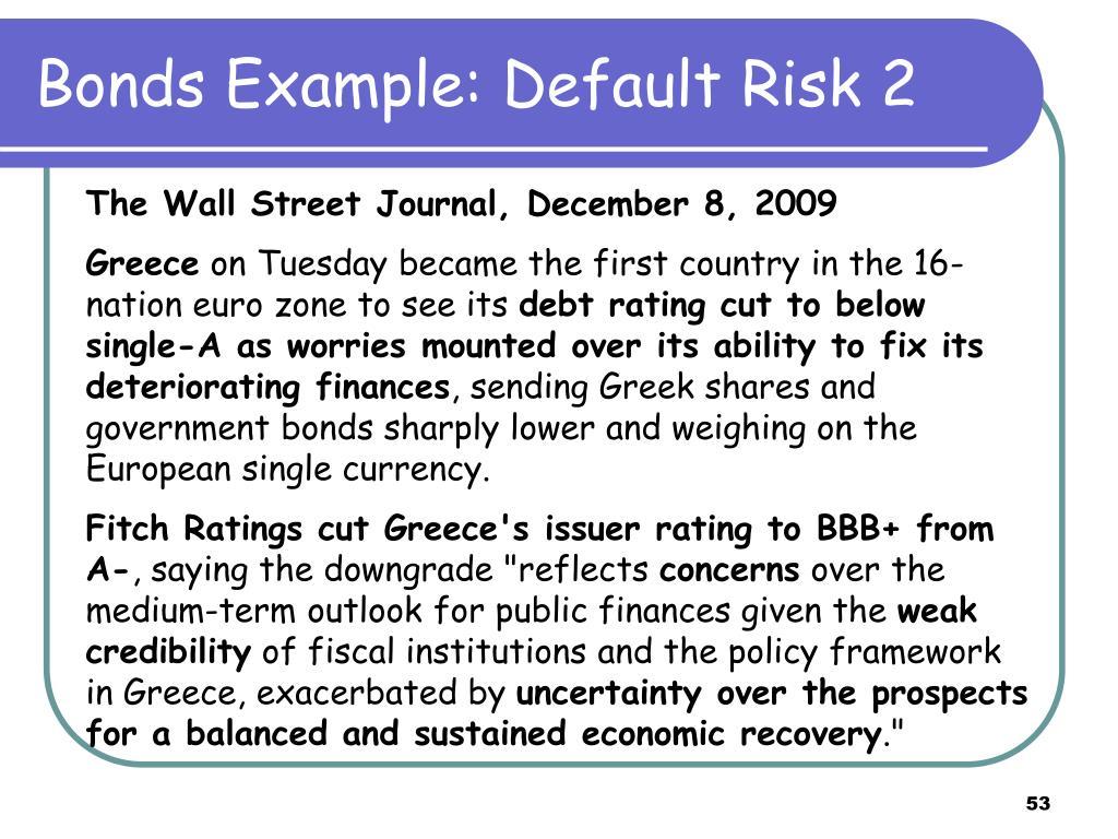 Bonds Example: Default Risk 2