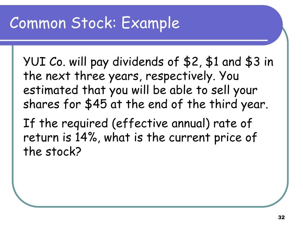 Common Stock: Example