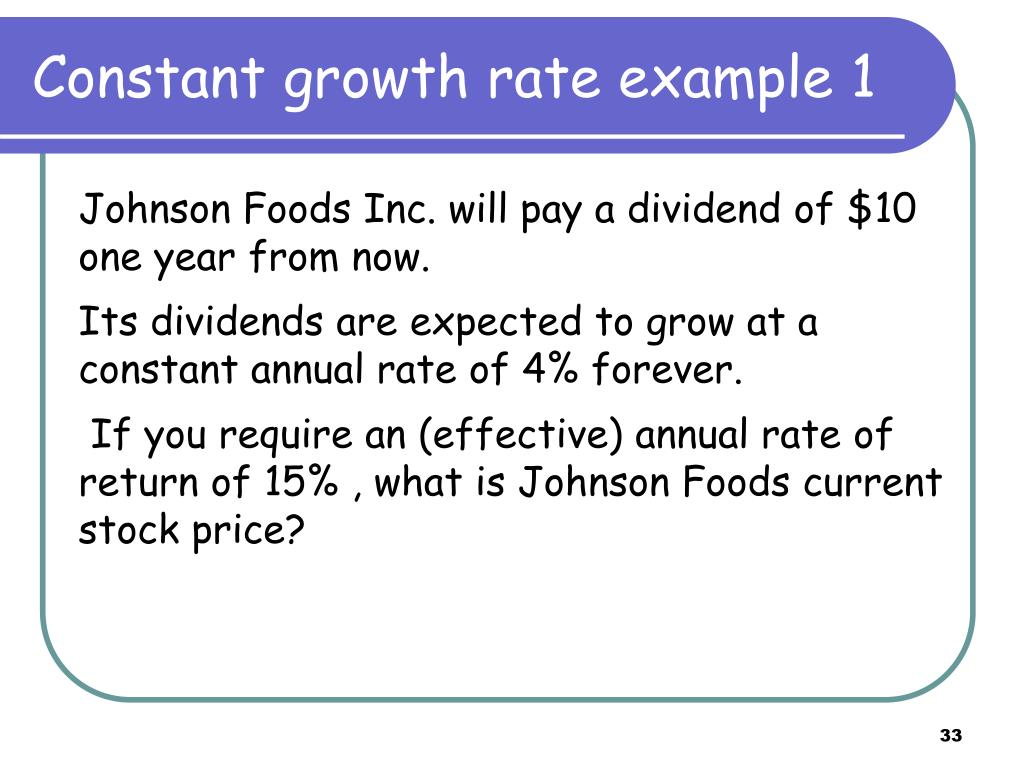 Constant growth rate example 1