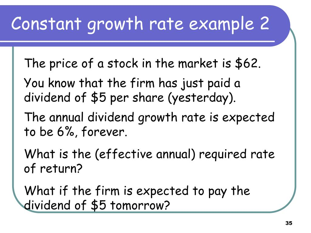 Constant growth rate example 2