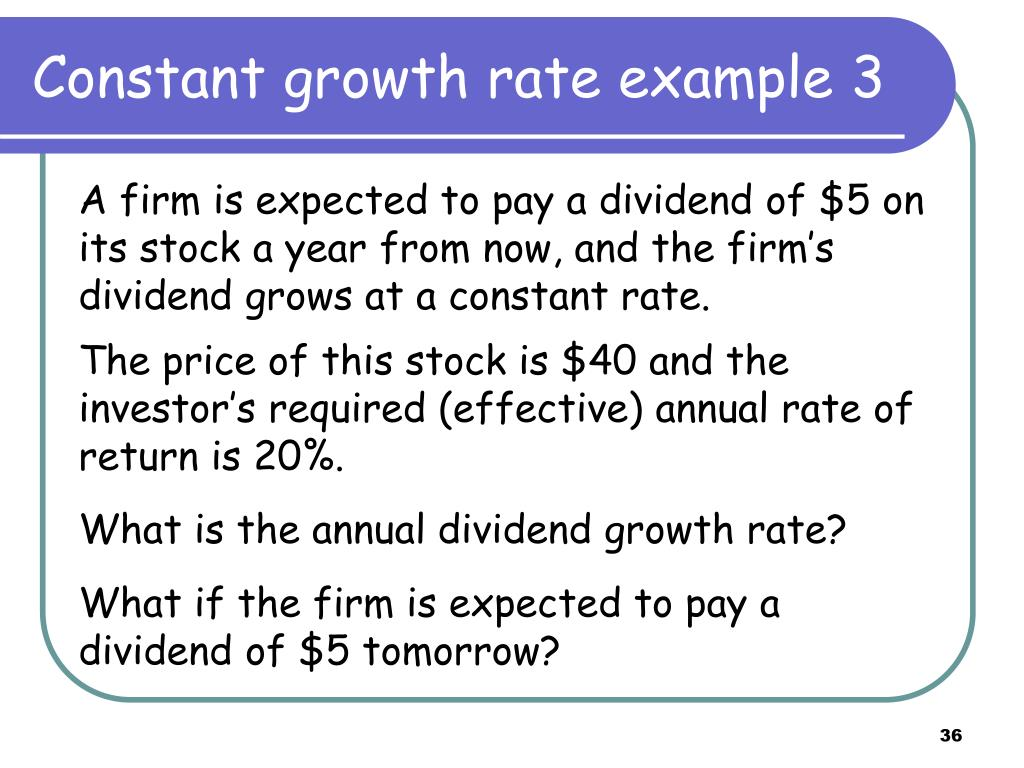 Constant growth rate example 3