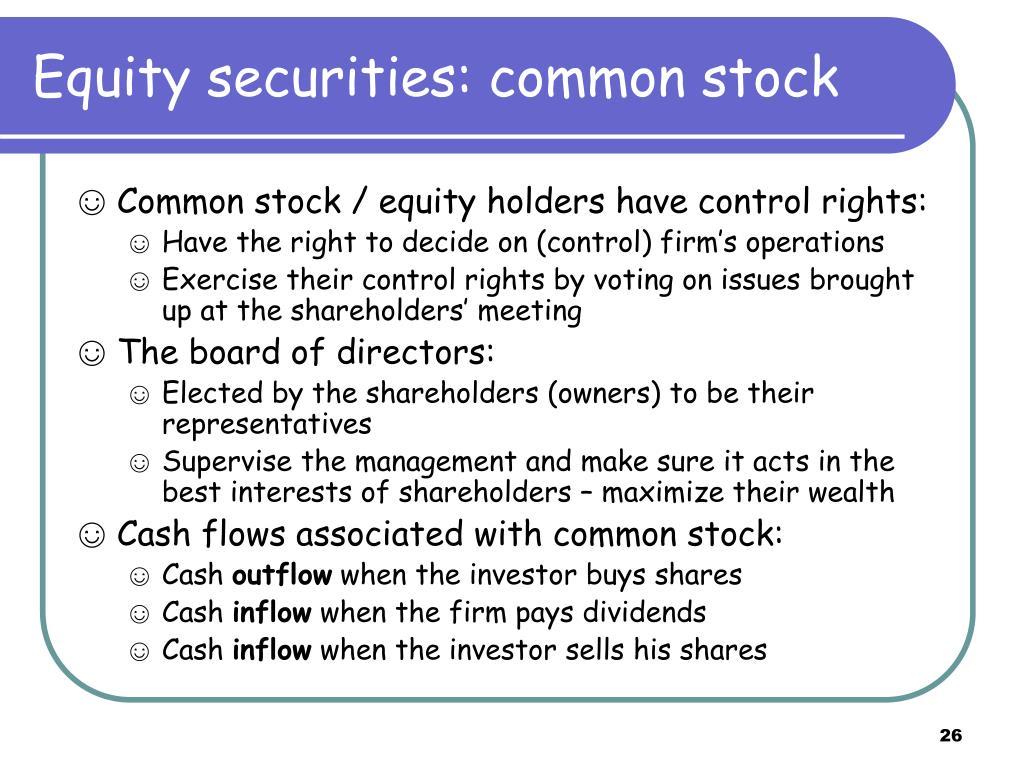 Equity securities: common stock
